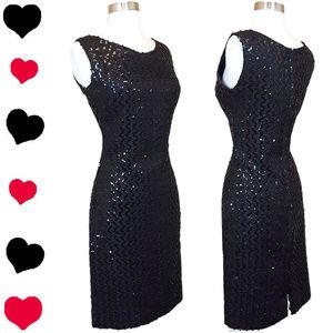 Vintage 50s Black SEQUIN Sheath Party Dress M